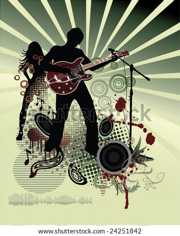 Music poster - stock photo