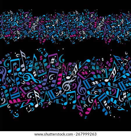 Music seamless abstract background with colorful notes and horizontal composition, illustration. - stock photo