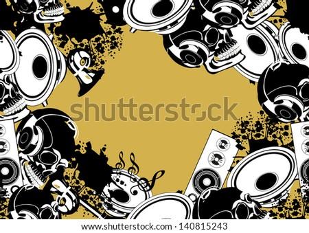 music seamless pattern background - stock photo