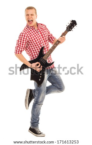 Music, sound. Musician with a guitar on white background - stock photo