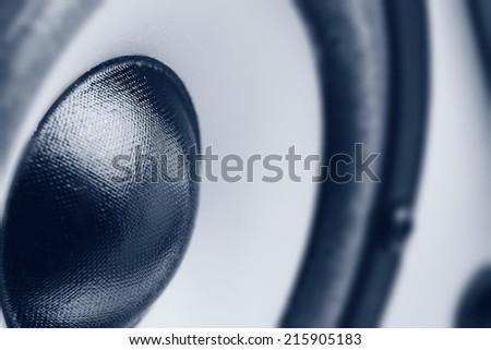 Music speaker. Monochrome close-up photo - stock photo