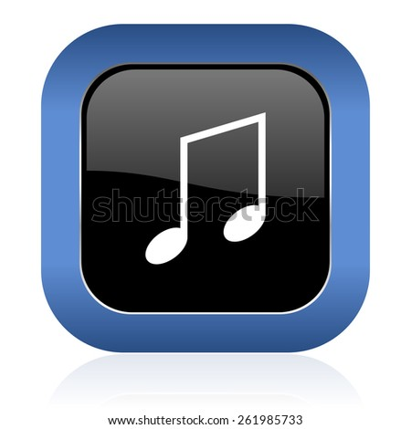 music square glossy icon note sign - stock photo