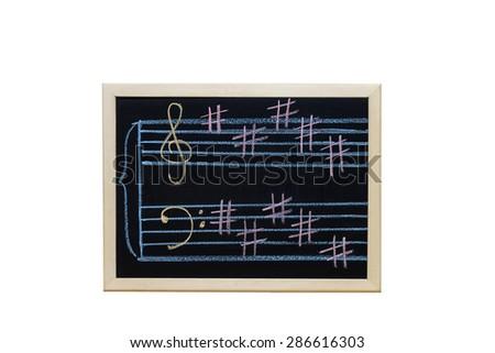 music staff in key B written on blackboard - stock photo