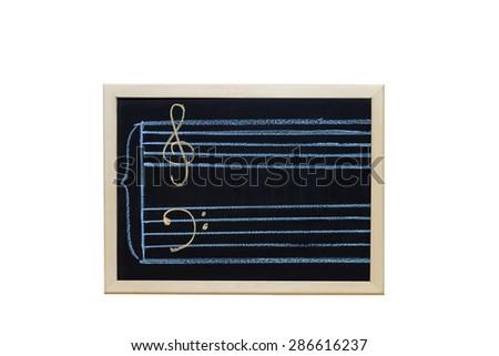 music staff in key c written on blackboard - stock photo