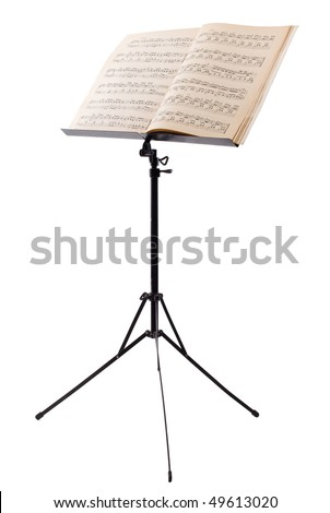 music stand with piano notes isolated on white background - stock photo