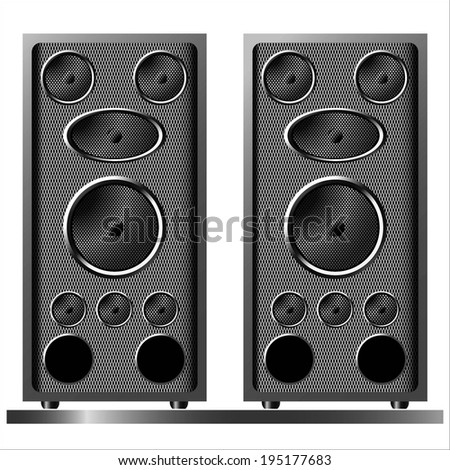 music stereo audio speakers vintage realistic on the white background raster - stock photo
