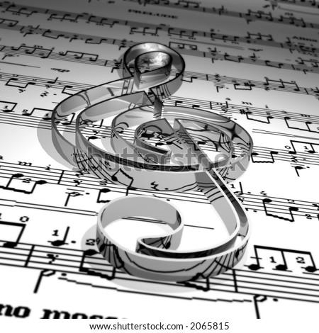 Music symbol & Music sheet - stock photo