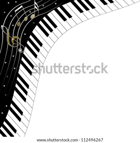 Music text frame with notes and piano keys - stock photo