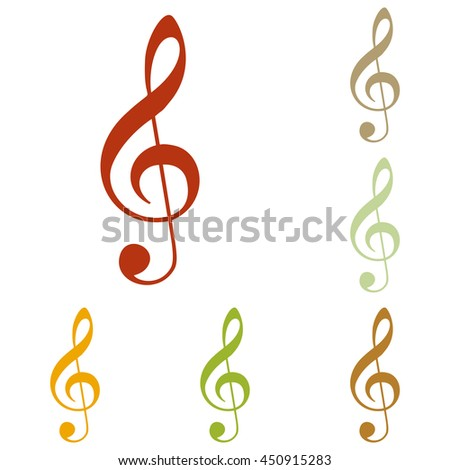 Music violin clef sign. G-clef. Treble clef. Colorful autumn set of icons. - stock photo