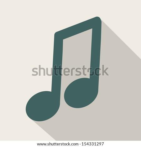 Music web icon,flat design - stock photo