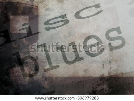 music word blues on film strip background - stock photo