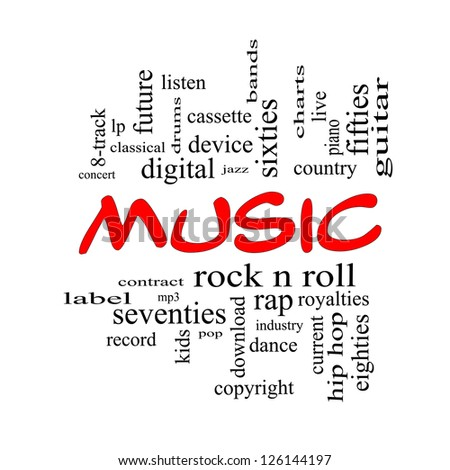 Music Word Cloud Concept in red caps with great terms such as rock n roll, rap, pop, download, lp and more. - stock photo