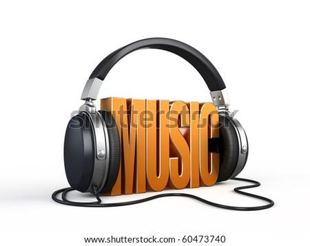 Music word with headphones - stock photo