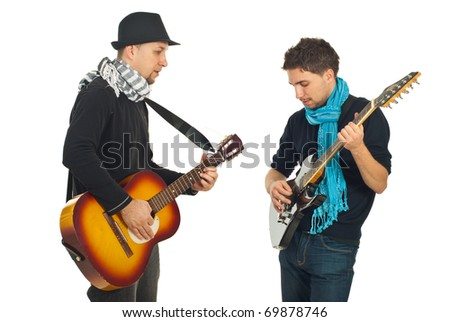 Musical band of two men playing acoustic and electronic guitars isolated on white background - stock photo