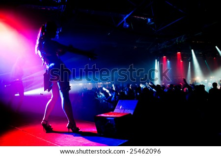 Musical event, anonymous girl on the stage - stock photo