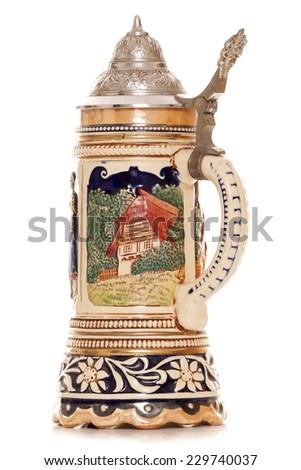 Musical german beer stein cutout - stock photo
