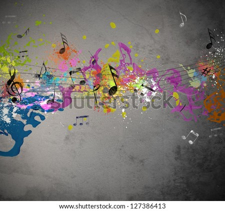 Musical grunge with spray background - stock photo