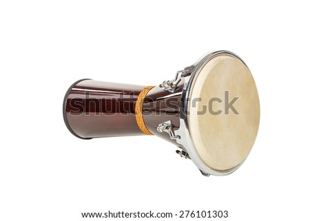 Musical instrument Djembe on a white background is inverted - stock photo