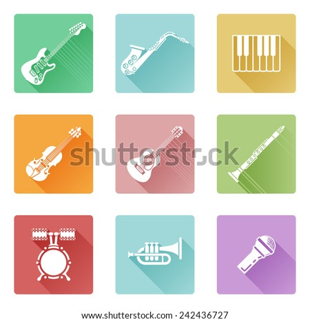 Musical instrument music icons including ones for clarinet, guitar, piano and many more - stock photo