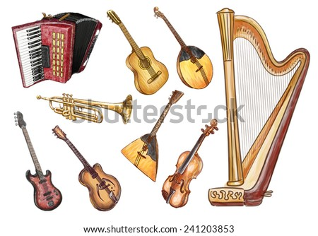 Musical instruments. - stock photo