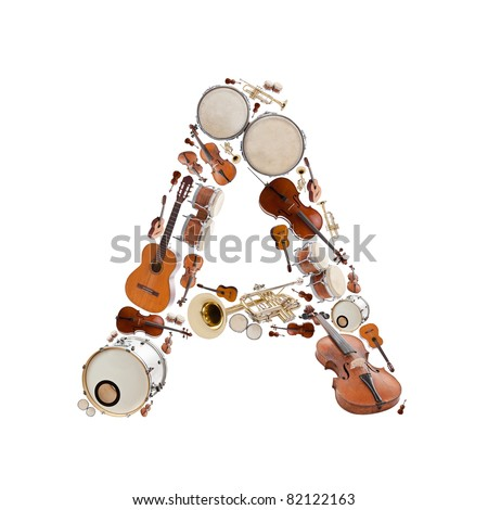 Musical instruments alphabet - stock photo