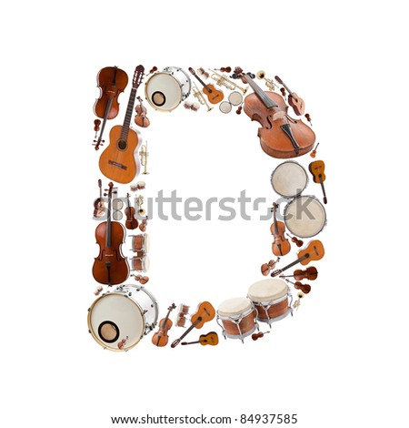 Musical instruments alphabet on white background. Letter D - stock photo