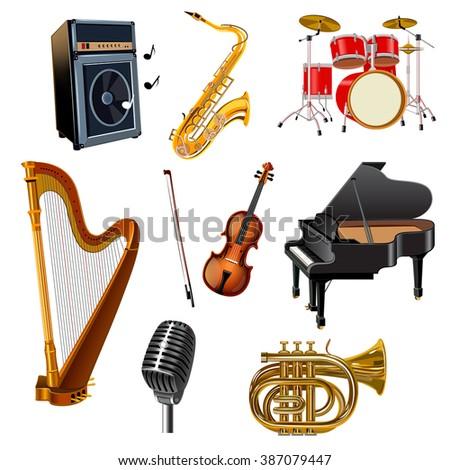 Musical Instruments Set - stock photo