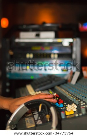 Musical mix panel and the sound equipment - stock photo