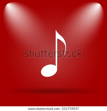 Musical note icon. Flat icon on red background.  - stock photo