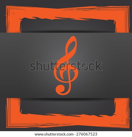 Musical note icon. Internet button on grey background.