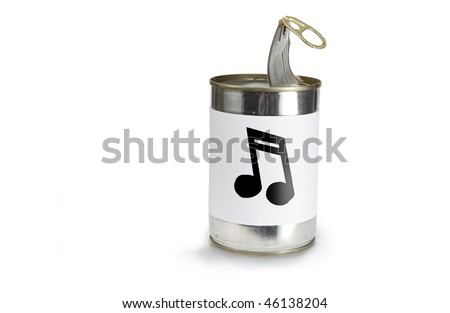 Musical Note Symbol on a can on a white background - stock photo