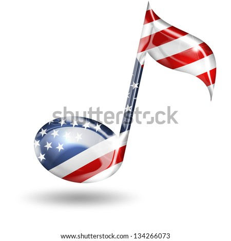 musical note with american flag colors on white background - stock photo