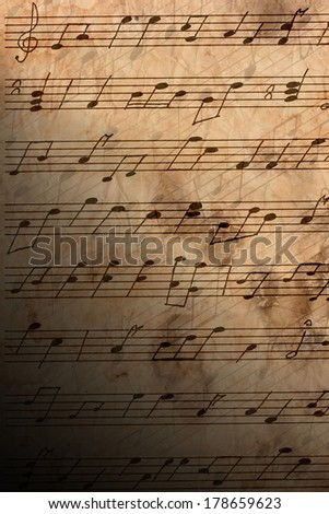 Musical notes close-up - stock photo