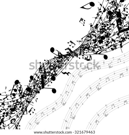 Musical notes in a row with copy space. Raster illustration. - stock photo