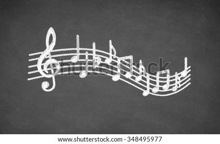 Musical notes - made with white chalk on a blackboard - stock photo