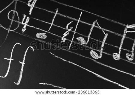 Musical notes on a blackboard - stock photo