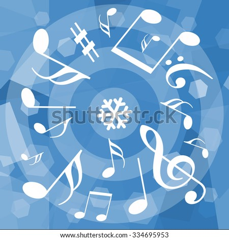 Musical notes on winter background - stock photo