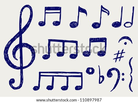 Musical notes. Sketch - stock photo