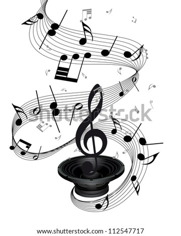Musical notes staff background with loudspeaker - stock photo
