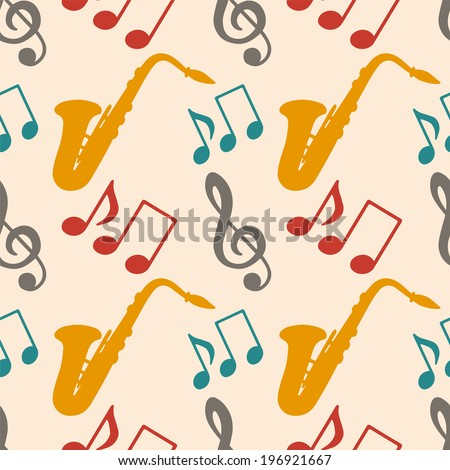 Musical seamless pattern with silhouettes music notes, treble clef, saxophone. Music background - raster version - stock photo