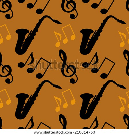 Musical seamless pattern with silhouettes music notes, treble clef, saxophone. Wallpaper. Endless texture. Retro vintage style - raster version  - stock photo