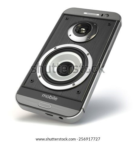 Musical smartphone.Mobile phone music app. Cellphone and loudspeakers. 3d - stock photo