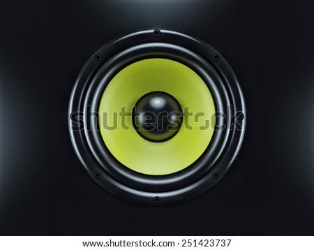 Musical sound speaker on black background. Concept - stock photo