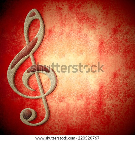musical symbol on metal, red background texture with empty space for writing - stock photo