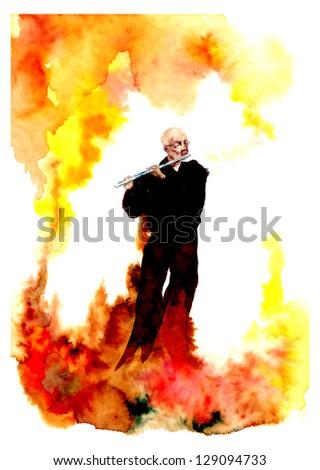 Musicant plaiyng fire - stock photo