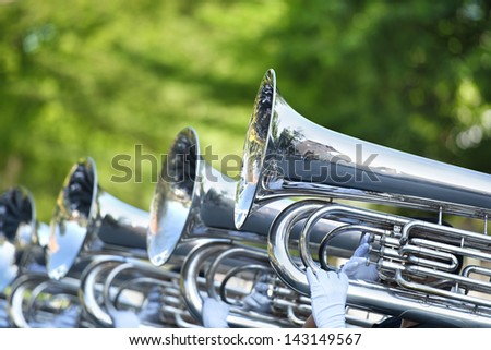 Musician play marching Tuba - stock photo