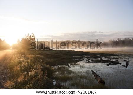 Muskoka road and lake at sunrise - stock photo
