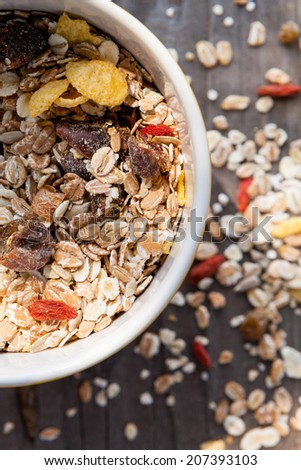 Musli in bowls - stock photo