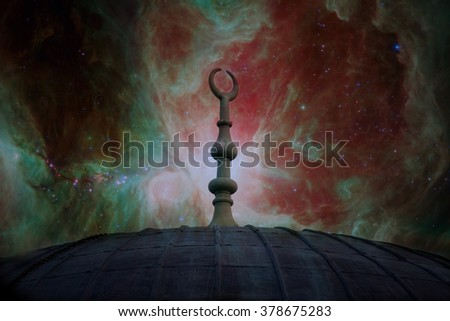 muslim architecture symbol over the red sky with manny stars- elements of this image are furnished by NASA - stock photo