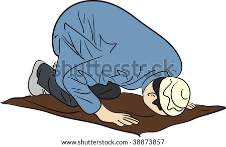 muslim man praying - stock photo